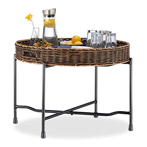Relaxdays Serviertisch Rattan, rundes Tablett, geflochten, klappbarer Ständer aus Metall, HxD: 47x66cm, Natur/schwarz
