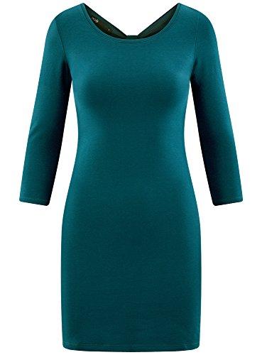 oodji Ultra Damen Enges Kleid mit Tropfen-Ausschnitt am Rücken Blau (7400N)