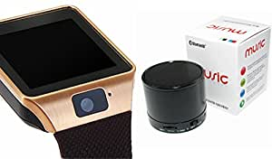 MIRZA Smart Watch & Bluetooth Speaker for XOLO Q1020 (Bluetooth Headset & Bluetooth DZ09 Smart Watch Wrist Watch Phone with Camera & SIM Card Support Hot Fashion New Arrival Best Selling Premium Quality Lowest Price with Apps like Facebook, Whatsapp, Twitter, Sports, Health, Pedometer, Sedentary Remind & Sleep Monitoring, Better Display, Loud Speaker, Microphone, Touch Screen, Multi-Language, Compatible with Android iOS Mobile Tablet-Assorted Color)