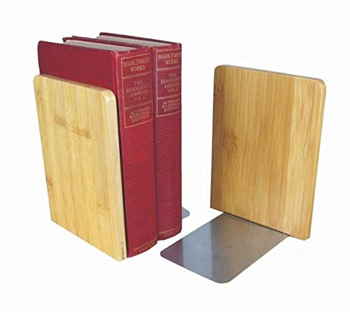 MyLibrary Buchstützen Bookends aus Holz - 2-teiliges Set: 2 Buchstützen aus Bambus mit Edelstahl