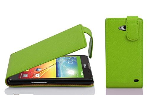 Cadorabo Hülle für LG L90 Hülle in Apfel grün Handyhülle aus Strukturiertem Kunstleder im Flip Design Case Cover Schutzhülle Etui Tasche Apfel-Grün