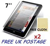 2x Universal Android Windows Tablet PC Screen Protector Cover Shield + Free Cloths 2 Pack (7