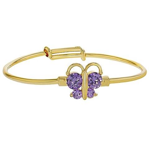 18K vergoldet Kristall Schmetterling violett verstellbar Armreif Baby Mädchen Armband