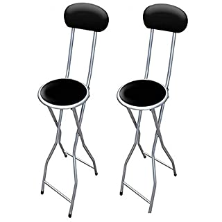 ANZ 2 x Folding Breakfast Bar Stool Party Home Office Kitchen Padded High Chair Black