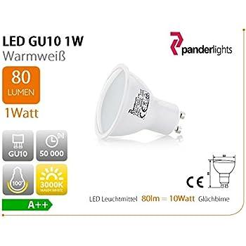 10er GU10 LED Lampe, 1,0 W 80 Lm (ersetzt 10 Watt) Warmweiß, SMD LED  Leichtmittel, 120° Abstrahlwinkel