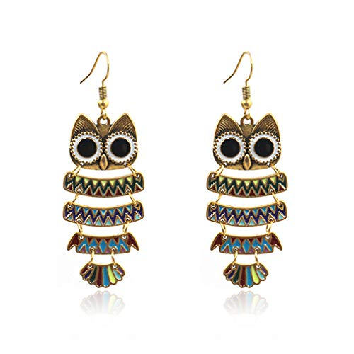 LIXIAQ1 Vintage Emaille Owl Ohrringe Bunte mehrschichtige Durchbrochene Haken baumeln Ohrringe Zubehör Charme Geschenk