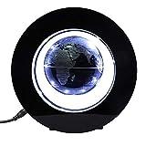 Magnetisch Schwebende Globus Elektronisch Rotierend Anti Schwerkraft Levitation Kugel mit Leuchten Weltkarte für Geschenk Haus Büro Dekoration(Silber Schwarz)