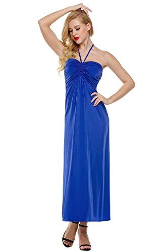 CRAVOG Damen elegantes Brautjungfernkleider Abendkeid Neckholder sexy  Cocktailkleid partykleid Blau