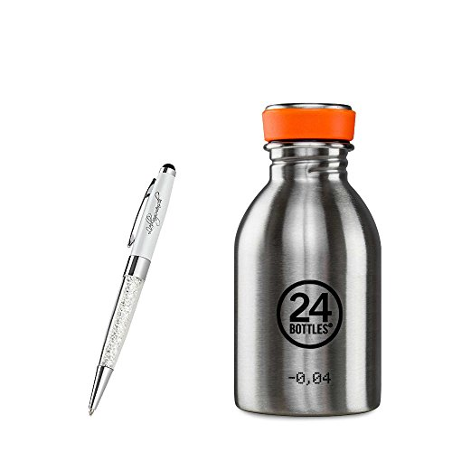24 Bottles Trinkflasche Urban 250 ml | 500 ml | 1000 ml versch. Farben inkl. Lieblingsmensch Kugelschreiber, Farbe:steel, Größe:250 ml