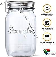 SONNENGLAS Classic 1000ml | Original Solarlampe/Solar-Laterne im Einmachglas aus Südafrika (inkl. USB) | warmweiß | Fair...