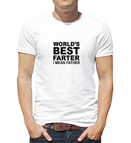 LumaShirts WorldS Best Farter Father Funny Family 004105 T Shirt Birthday For Him XL Man White