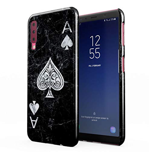 Maceste Ace of Spades Black Marble Kompatibel mit Samsung Galaxy A7 2018 SnapOn Hard Plastic Phone Protective Fall Handyhülle Case Cover