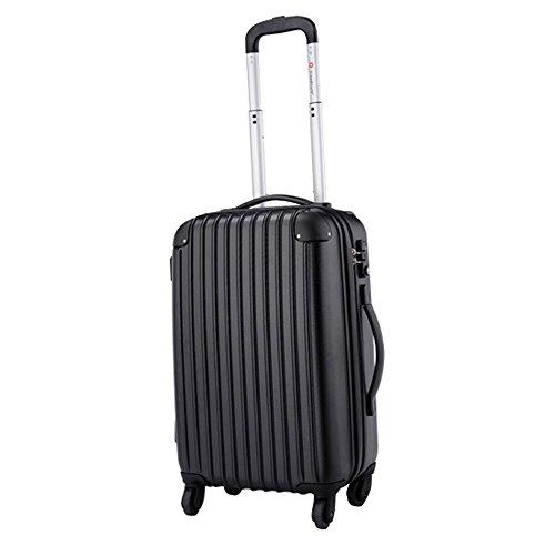 travelhouse Cabine Valise Coque rigide léger Voyage bagages rigides ultra-légères 4Sac à Roulettes de roue noir À main