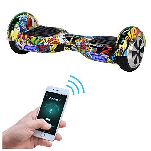 Robway W1 Hoverboard - Das Original - Samsung Marken Akku - Self Balance - 22 Farben - Bluetooth - 2 x 350 Watt Motoren - App - Led (Grafit Blau)