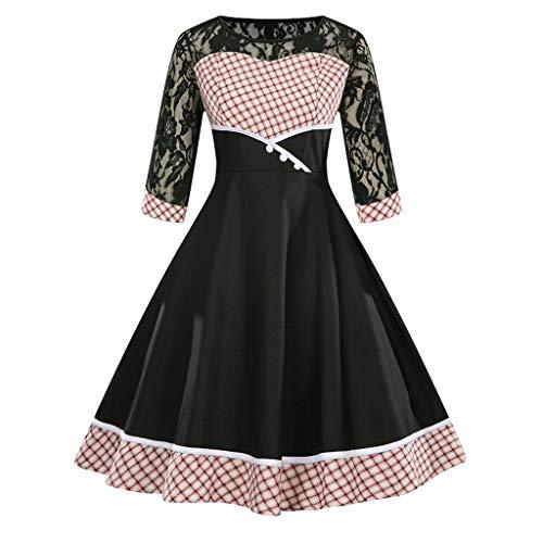 HHyyq Damen Vintage Lace Plaid Kleid der 1950er Jahre Retro Vintage Cocktailkleid Rockabilly V-Ausschnitt Faltenrock(rot,XXXL)