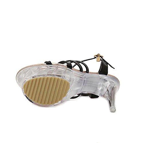 Été en cuir pour femmes imperméables Toes Cristal Mode Soles Bare Heels Boucle de ceinture Superfine 38