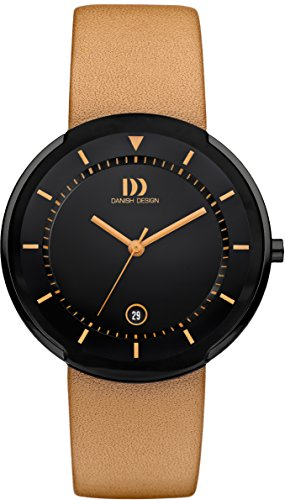 Danish Design Men's Quartz Watch with Black Dial Analogue Display and Orange Leather Strap DZ120494