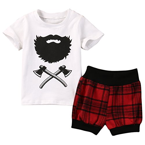 1d8653f1e7567 ZXCVBN Hot Selling Newborn Baby Boy Clothes Fashion Toddler Kids Axe  T-Shirt Tops Red Plaid Short Pant 2Pcs Outfit Bebek Giyim Clothing