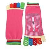 MK 1 Pair Five Toe Rubber Yoga Pilates Fitness Socks Non Slip Massage Random Color