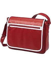 HALFAR - sac rétro sacoche bandoulière étudiant imitation cuir 1807541 - rouge - mixte homme/femme