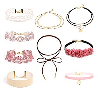 Pink Lace Choker Necklace Set Women Girls Retro Gothic Cute Floral Chain Gift for Her 9pcs
