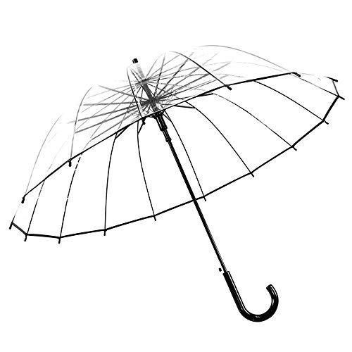 Paraguas Transparente Hombres y Mujeres, con Forma de Cúpula y Función Antiviento, 16 Costillas de Hueso 97 cm Color romántico ideal para viajar
