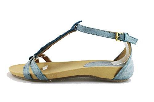 MICHEL BATIC sandali celeste pelle camoscio AG455 (37 EU)