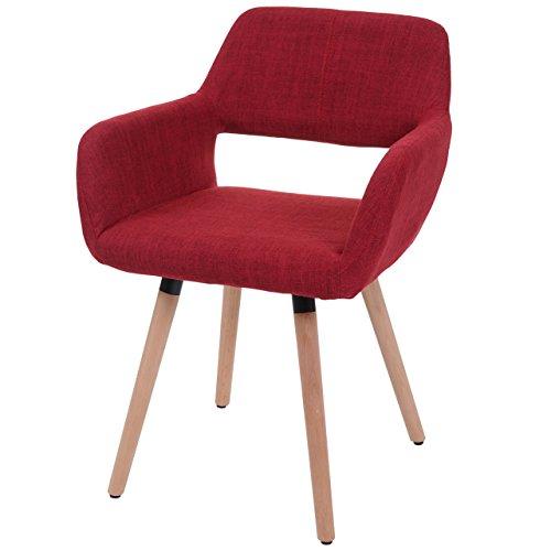 Chaise de salle à manger HWC-A50 II, fauteuil, design rétro des années 50 ~ tissu, rouge pourpre