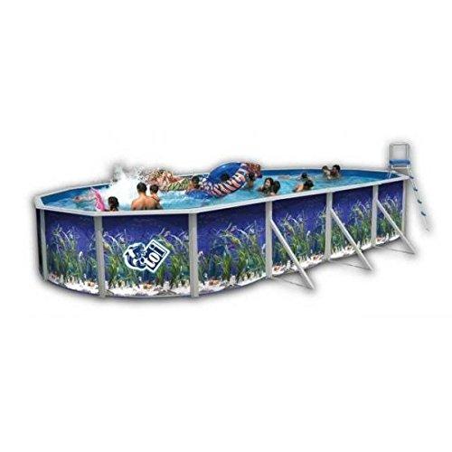 Piscine acier ovale decor aquarium 5,50x3,66 hauteur 1,20m - toi 8566