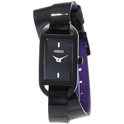 Versus Ibiza Black Dial Black Leather Ladies Armbanduhr SGQ010013
