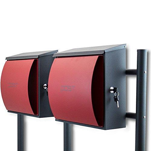 BITUXX® Design Doppelstandbriefkasten Briefkastenanlage Seitenschloss und Zeitungsfach Dunkelgrau/Rot