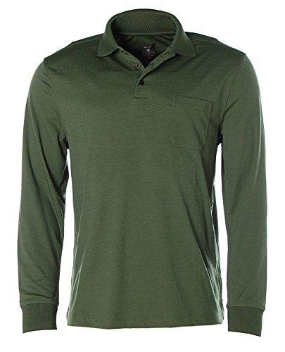 Kitaro Herren Langarm Shirt Poloshirt Polokragen Easy Care Trekking Green
