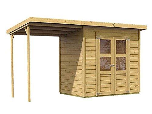 Karibu Gartenhaus Florenz 3 mit Schleppdach natur SPARSET mit selbstklebender Dachbahn
