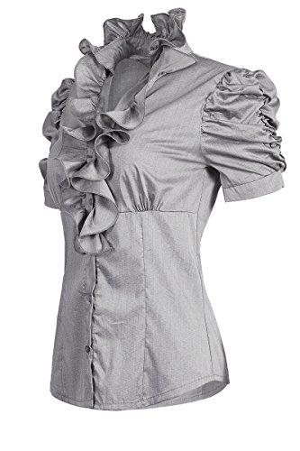 Klassische Bluse Findet (Laeticia Dreams Damen Bluse Kurzarm S M L XL XXL XXXL, Farbe:Grau;Größe:46)