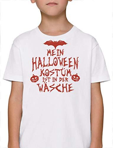 Grusel Gruppen Premium Bio Baumwoll Mädchen Jungen Kinder T-Shirt Stanley Stella Mein Halloween Kostüm ist in der Wäsche 3, Größe: 9/11,White (Drei Halloween-kostüme Mädels Der)