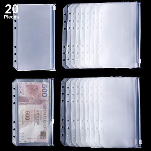 Binder Tasche 6 Löcher Loose Leaf Taschen A6 Größe Binder Reißverschluss Ordner Kunststoff Datei Dokument Taschen für Haus Büro Schule Lieferungen (20) (Tasche-datei-ordner)