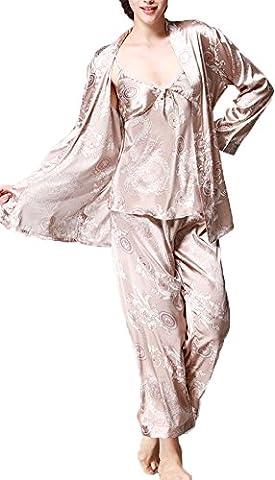 Pyjamas Femme Satin - Jusfitsu À Manches Longues Pyjama de Soie