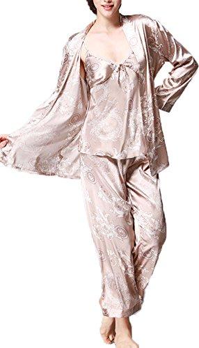 Jusfitsu À Manches Longues Pyjama de Soie de Femme Sexy de Confort Trois-pièces