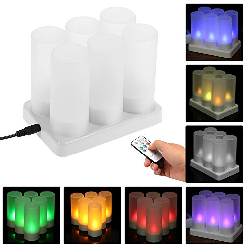 Weehey Juego 6 Recargables LED Que Cambian Color Parpadeo