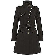 LA CREMA - Mujer Militar Tacto Lana Chaqueta de Chicas funnel-neck detalle de botón Exterior Con Cinturón Abrigo de invierno