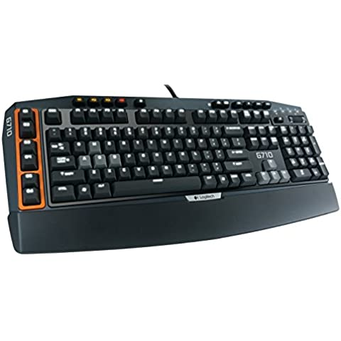 Logitech G710+ - Teclado (USB, AZERTY, Universal, Negro, Naranja, Color blanco, USB)
