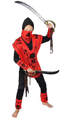 Foxxeo Drachen Ninja Kostüm für Jungen schwarzes Ninjakostüm Halloween Kinderkostüm Größe 152-158