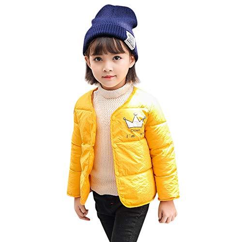 Selou Kinderjacke Mädchenjunge Winter-Karikaturspitze Crown bedruckter Baumwollanzug Umhang Jacke Dicke warme Jacke Kleidung Regelmäßige Knopfweste Dicker Windschutz Cardigan