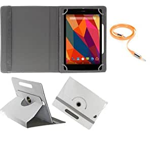 Gadget Decor (TM) PU LEATHER Rotating 360° Flip Case Cover With Stand For Lenovo A7-30Tablet + Free Aux Cable -White