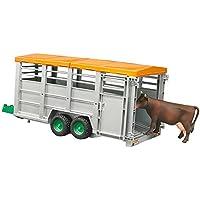 BRUDER - 02227 - Remorque bétaillère avec vache - Grise