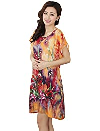 JTC Ladies Flower Printed Cotton Round Neck Summer Short Nightdress 23e6a814b