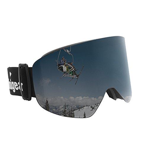 Unigear UV Schutz Skibrille Anti-Fog&Wind (Magnetisch Zylindrische Linse(Abtrennbar), Schwarz-Grau (VLT 16%))
