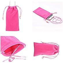 DFV mobile - Funda de Tela en Paño Suave con Cierre por Lazo y Colgante de Cuello para => TECNO R5 > Rosa