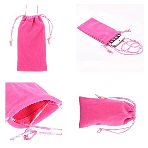 DFV mobile - Case Cover Soft Cloth Flannel Carry Bag with Chain and Loop Closure for =>     APPLE IPHONE SE > Violet Pink