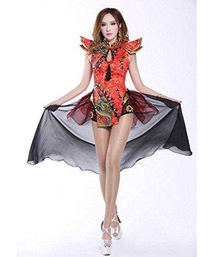 DuuoZy China's Retro-Stil Cheongsam Frauen Sexy Dance Kleidung Fliegende Wolken Schwanz Garn Red Diamond Mosaik Bar Sänger DS / DJ Performances Lead Dancer (Männer Für Chinesische Tanz Kostüme)